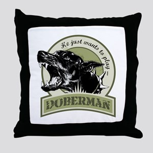 Doberman army green Throw Pillow