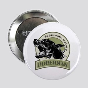 "Doberman army green 2.25"" Button"