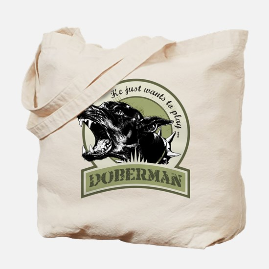 Doberman army green Tote Bag
