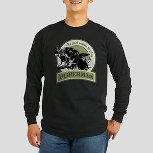 Doberman Long Sleeve Dark T-Shirt