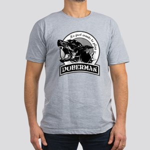 Doberman black/white Men's Fitted T-Shirt (dark)
