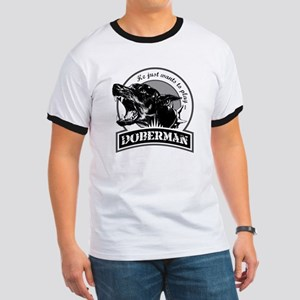 Doberman black/white Ringer T