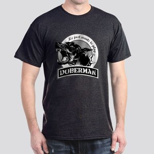 Doberman black/white Dark T-Shirt