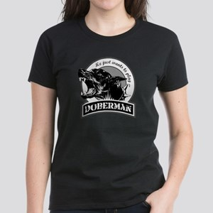 Doberman black/white Women's Dark T-Shirt