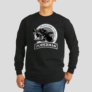 Doberman black/white Long Sleeve Dark T-Shirt