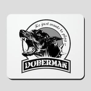 Doberman black/white Mousepad