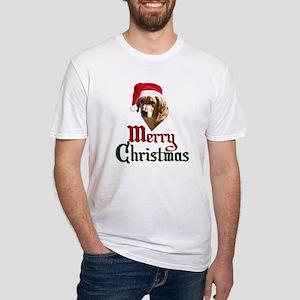 Christmas Golden Retriever Fitted T-Shirt