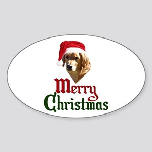 Christmas Golden Retriever Sticker (Oval)