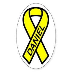 DANIEL - Yellow Ribbon Oval Decal