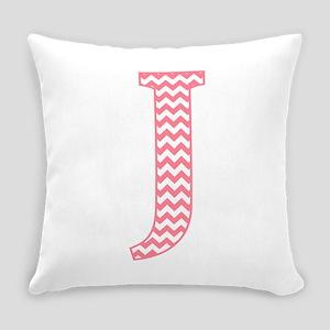 Pink Chevron J Monogram Everyday Pillow