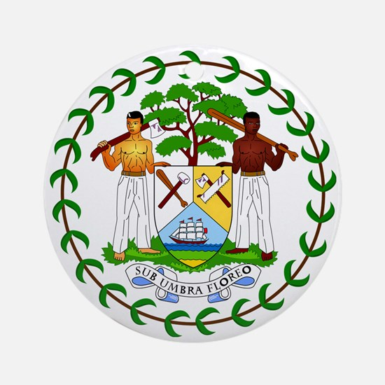 Belize Coat of Arms Emblem Ornament (Round)