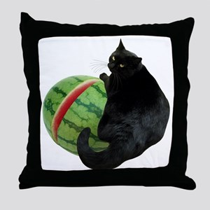 Cat with Watermelon Throw Pillow