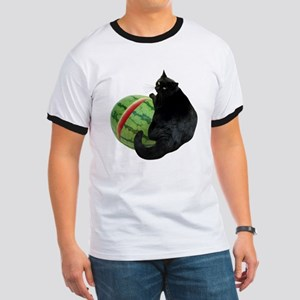 Cat with Watermelon Ringer T