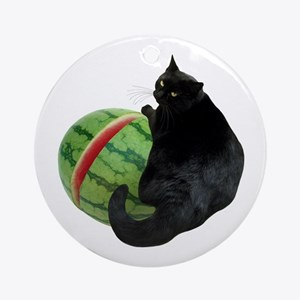 Cat with Watermelon Ornament (Round)
