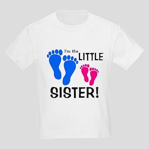 Little Sister Baby Footprints Kids Light T-Shirt