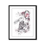 White Rabbit Framed Panel Print