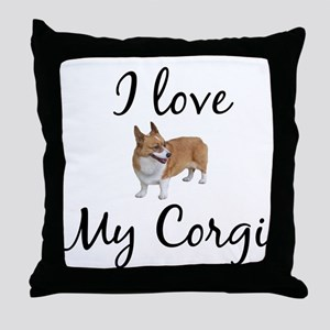 I Love My Corgi Throw Pillow