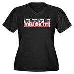 You Voted For Him Women's Plus Size V-Neck Dark T-