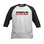 You Voted For Him Kids Baseball Jersey