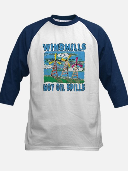 Windmills Not Oil Spills Kids Baseball Jersey