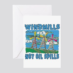 Windmills Not Oil Spills Greeting Cards (Pk of 10)