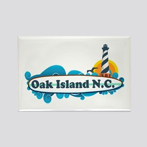 Oak Island NC - Lighthouse Design Rectangle Magnet
