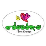 I-L-Y Grandpa Sticker (Oval 10 pk)