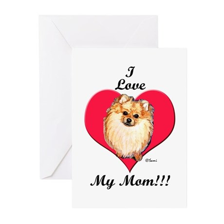 Wicket the Pom Loves Mom Greeting Cards (Package o