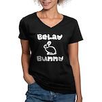 Belay Bunny Women's V-Neck Dark T-Shirt