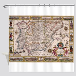 Vintage Map Of Spain 1610 Shower Curtain