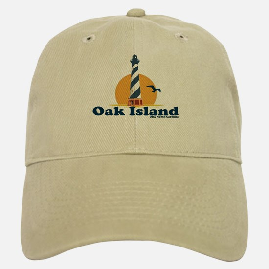 Oak Island NC - Lighthouse Design Baseball Baseball Cap