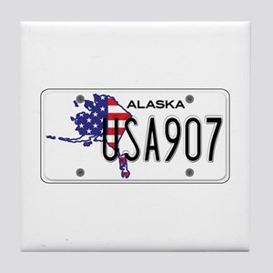AK USA License Plate Tile Coaster