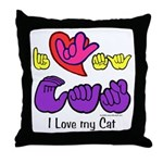 I-L-Y My Cat Throw Pillow