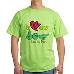 I-L-Y My Dog Green T-Shirt