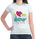 I-L-Y My Dog Jr. Ringer T-Shirt
