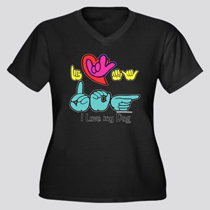 I-L-Y My Dog Women's Plus Size V-Neck Dark T-Shirt