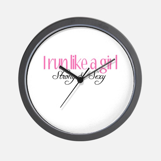 I run like a girl strong Sexy Wall Clock