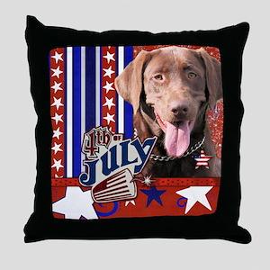 July 4th Firecracker Labrador Throw Pillow