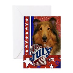 July 4th Firecracker Collie Greeting Card