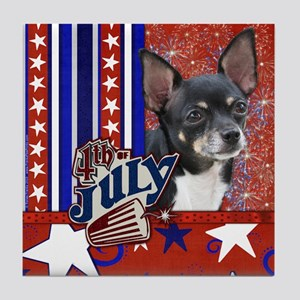 July 4th Firecracker Chihuahua Tile Coaster