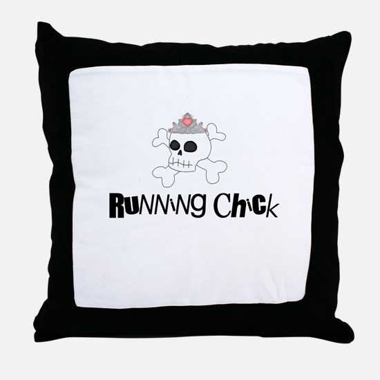 Running Chick Skull Throw Pillow