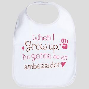 ambassador grow up pinkbrown Baby Bib