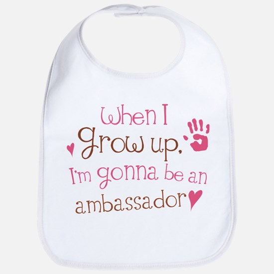 ambassador grow up pinkbrown Baby Bib