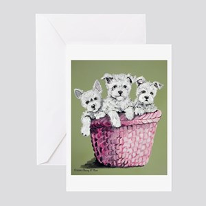Basket of Westies!! Greeting Cards (Pk of 10)