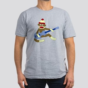 Sock Monkey Blue Guitar Men's Fitted Dark T-Shirt
