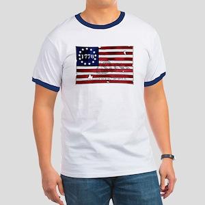 1776 American Flag Ringer T