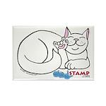 White ASL Kitty Rectangle Magnet