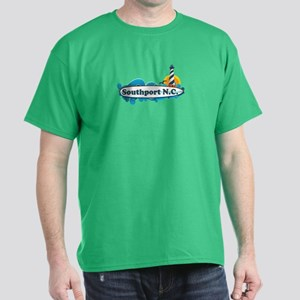Southport NC - Lighthouse Design Dark T-Shirt