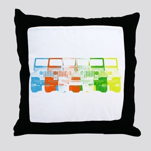 Bright Chromatic Jeep Throw Pillow