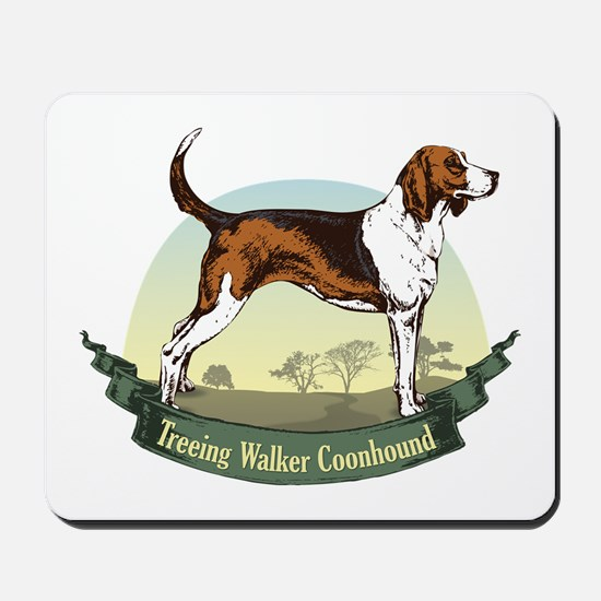 Treeing Walker Coonhound: Banner Series Mousepad